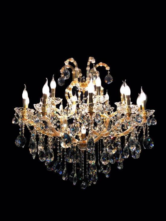 Lustre Cristal Dourado K9 18 lâmpadas