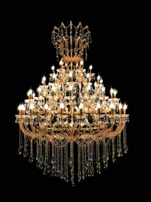 Lustre Cristal Dourado K9 64 lâmpadas