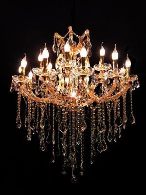 Lustre Cristal Dourado K9 19 lâmpadas