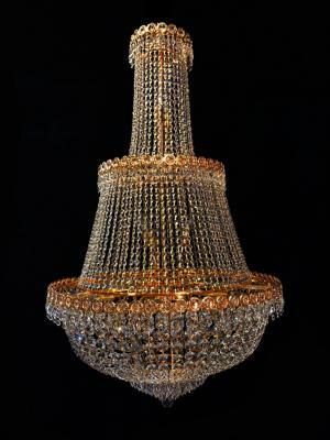 Lustre Cristal Dourado K9 24 lâmpadas